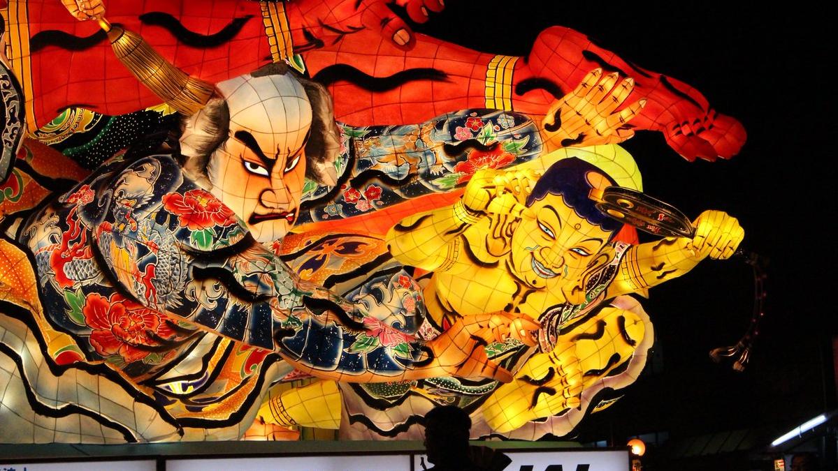 「金神長五郎 仁王と相撲をとる」北村隆作